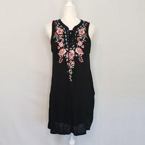 Altar'd State Black & Floral Sleeveless Dress Sz L